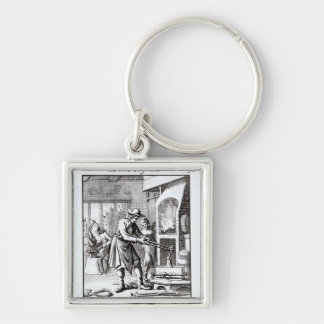 The Silversmith, 1718 Silver-Colored Square Key Ring