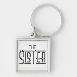 """""""The"""" Sister Silver-Colored Square Key Ring"""