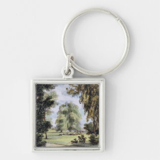 The Sister Trees, Kew Gardens, plate 8 from 'Kew G Silver-Colored Square Key Ring