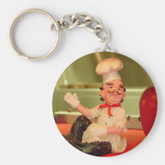 The Sitting Chef Basic Round Button Key Ring