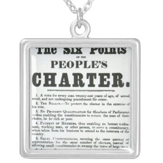 The Six Points of the People's Charter Silver Plated Necklace