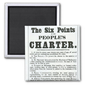 The Six Points of the People's Charter Square Magnet