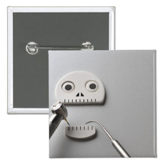The skeleton which dental treatment is taken 15 cm square badge