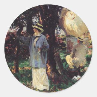 The Sketchers by Sargent, Vintage Victorian Art Round Sticker