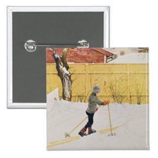 The Skier, c.1909 15 Cm Square Badge