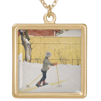 The Skier, c.1909 Gold Plated Necklace