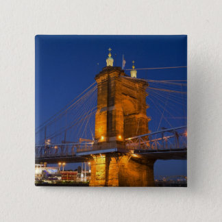 The skyline of Cincinnati, Ohio, USA at dusk 15 Cm Square Badge