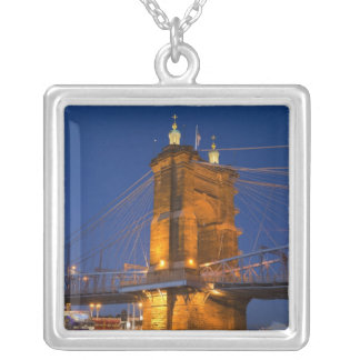 The skyline of Cincinnati, Ohio, USA at dusk Silver Plated Necklace
