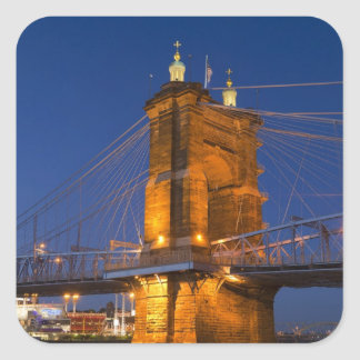 The skyline of Cincinnati, Ohio, USA at dusk Square Sticker