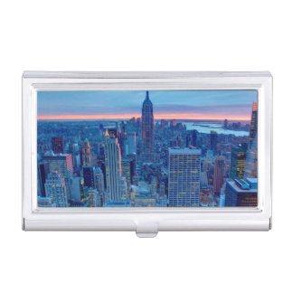 The skyscrapers of Manhattan are lit Business Card Holder