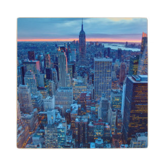 The skyscrapers of Manhattan are lit Wood Coaster