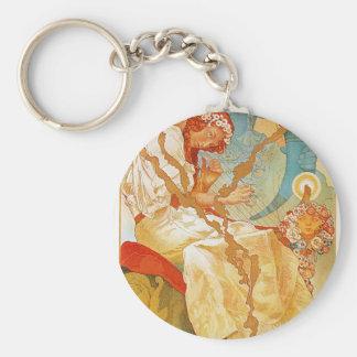 The Slav Epic by Alphonse Mucha Basic Round Button Key Ring