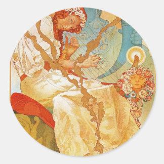The Slav Epic by Alphonse Mucha Round Sticker