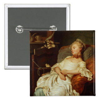 The Sleeper, 1759 (oil on canvas) 15 Cm Square Badge