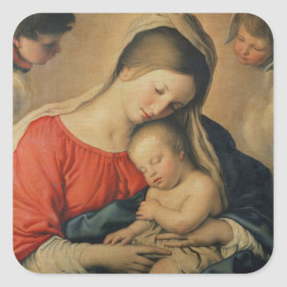 The Sleeping Christ Child (oil on canvas) Square Sticker