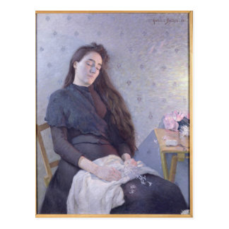 The Sleeping Flower Girl, 1892 Postcard