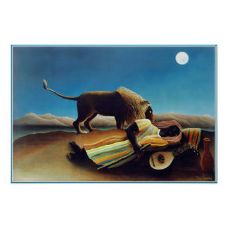 """The Sleeping Gypsy"" by Henri Rousseau Poster"
