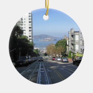 The sloping streets of San Francisco Round Ceramic Decoration