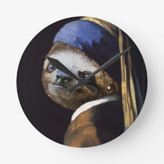 The Sloth with A Pearl Earring Round Clock
