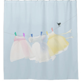 The small dresses on the clothes line shower curtain