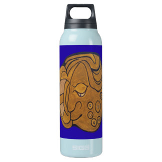 THE SMILING MAYAN MEDALLION- MIDNIGHT BLUE- CANCUN INSULATED WATER BOTTLE