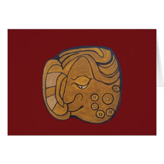 THE SMILING MAYAN MEDALLION- MIDNIGHT RED CARD