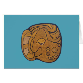 THE SMILING MAYAN MEDALLION- TURQUOISE BLUE CARD