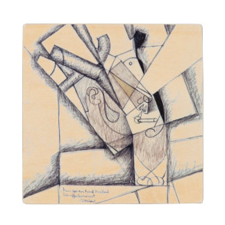 The Smoker, 1912 (charcoal & red chalk on paper) Wood Coaster