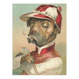 """The Smoking Jockey"" Vintage Dog Postcard"