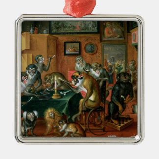 The Smoking Room with Monkeys Christmas Ornament