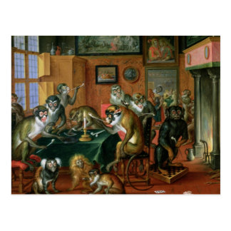 The Smoking Room with Monkeys Postcard