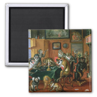 The Smoking Room with Monkeys Square Magnet
