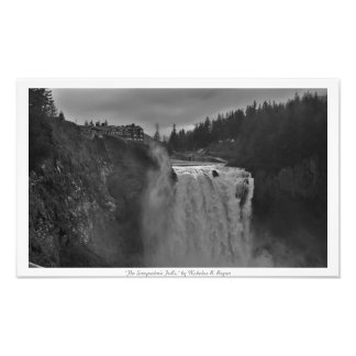 """""""The Snoqualmie Falls"""" Black and White Photo Print"""
