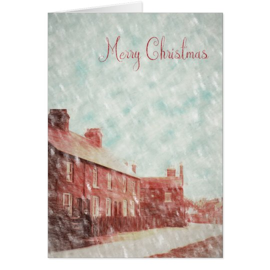 The snow begins to fall in Hopwas Card