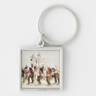 The Snow-Shoe Dance Silver-Colored Square Key Ring