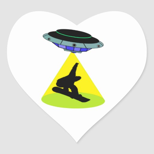 THE SNOWBOARD ABDUCTION HEART STICKERS