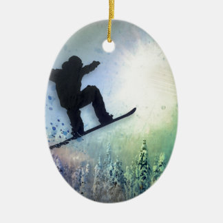 The Snowboarder: Air Ceramic Oval Decoration