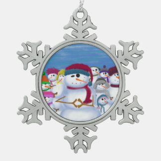 The Snowman And His Posse ~Pewter Ornament