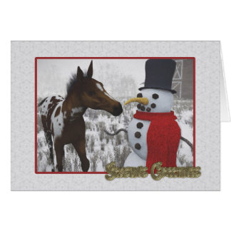 The Snowman and the Curious Foal Greeting Card