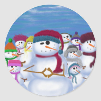 The Snowman & His Posse ~ Round Stickers