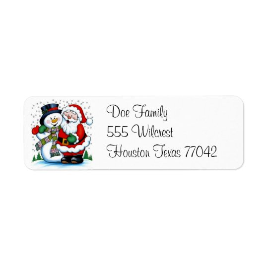 The Snowman & Santa Claus Avery Label Return Address Label