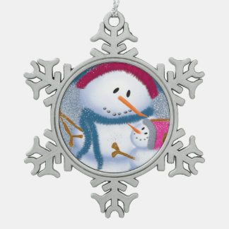 The SnowMomma And SnowGirl~Pewter Ornament
