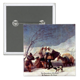 The Snowstorm (Winter).,  By Francisco De Goya 15 Cm Square Badge