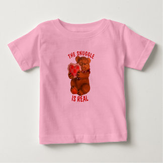 The Snuggle is Real  Bear With Heart Baby T-Shirt