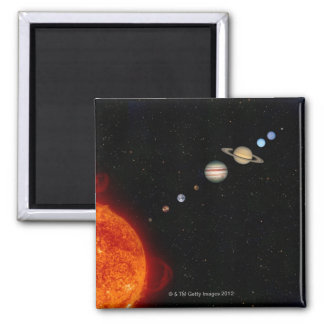 The Solar System 2 Square Magnet