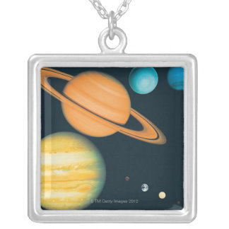 The Solar System Silver Plated Necklace