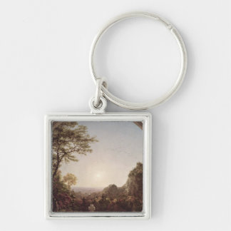 The Solitary Cross, 1845 Silver-Colored Square Key Ring