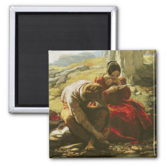 The Sonnet, 1839 (oil on panel) Square Magnet