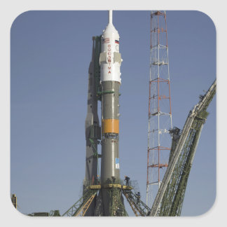 The Soyuz rocket is erected into position 2 Square Sticker