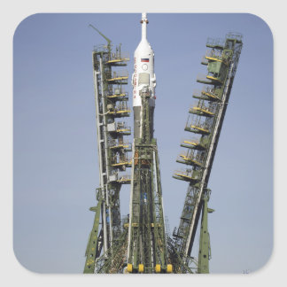 The Soyuz rocket is erected into position 4 Square Sticker